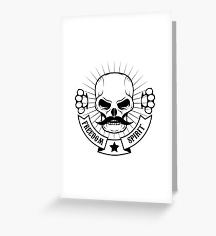 skull with a mustache Greeting Card