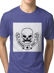skull with a mustache Tri-blend T-Shirt