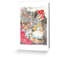 Alice's time travel in wonderland Greeting Card