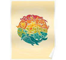 Animal Rainbow - cream Poster