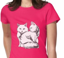 White Maine Coons Cats with Pink Womens Fitted T-Shirt