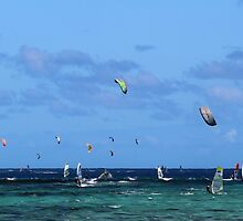 Kiteboarders and windsurfers by Mel1973