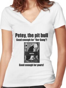 Petey the Pit Bull Women's Fitted V-Neck T-Shirt