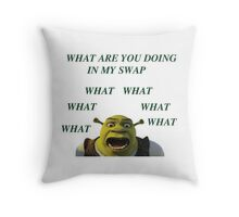 What are you doing in my swamp Throw Pillow