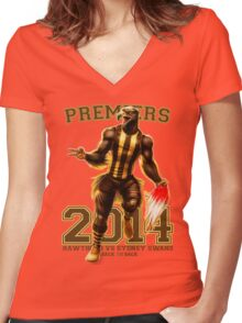 'The Mighty Premiers From Hawthorn' 2014 Print By Grange Wallis Women's Fitted V-Neck T-Shirt
