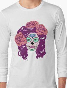 Colorful Sugar Skull Woman Long Sleeve T-Shirt