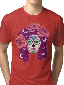 Colorful Sugar Skull Woman Tri-blend T-Shirt