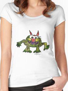 Funny Cartoon Monstar 006 Women's Fitted Scoop T-Shirt
