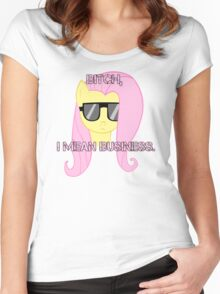 FlutterShy means business. Women's Fitted Scoop T-Shirt