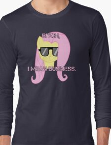 FlutterShy means business. Long Sleeve T-Shirt