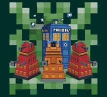 8bit Robot Droid Dalek with blue phone box by Arief Rahman Hakeem