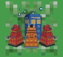 8bit Robot Droid Dalek with blue phone box Kids Tee