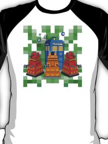 8bit Robot Droid Dalek with blue phone box T-Shirt