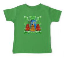 8bit Robot Droid Dalek with blue phone box Baby Tee