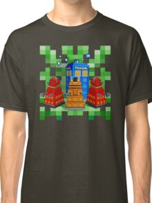8bit Robot Droid Dalek with blue phone box Classic T-Shirt