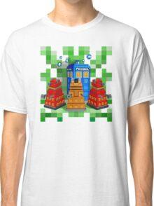 8bit Robot Droid Dalek with blue phone box Classic T-Shirt