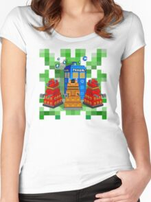 8bit Robot Droid Dalek with blue phone box Women's Fitted Scoop T-Shirt