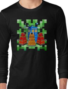 8bit Robot Droid Dalek with blue phone box Long Sleeve T-Shirt