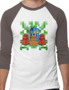 8bit Robot Droid Dalek with blue phone box Men's Baseball ¾ T-Shirt