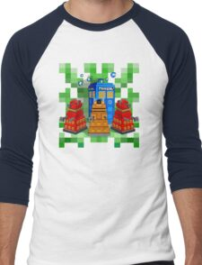 8bit Robot Droid Dalek with blue phone box Men's Baseball ¾ T-Shirt