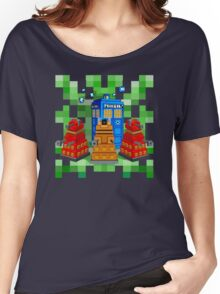 8bit Robot Droid Dalek with blue phone box Women's Relaxed Fit T-Shirt