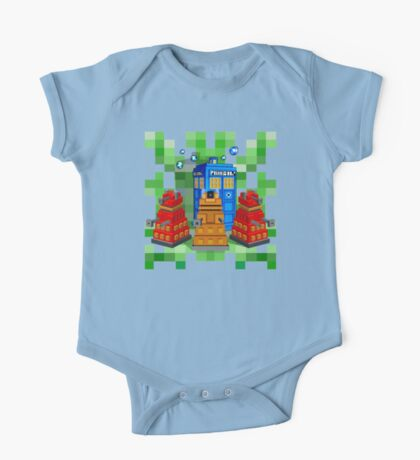8bit Robot Droid Dalek with blue phone box One Piece - Short Sleeve