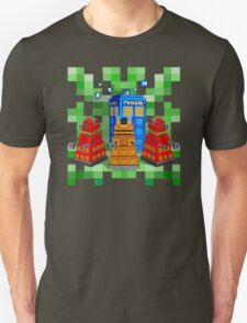 8bit Robot Droid Dalek with blue phone box Unisex T-Shirt