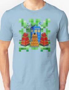 8bit Robot Droid Dalek with blue phone box Unisex T-Shirt