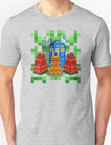 8bit Robot Droid Dalek with blue phone box T-Shirt