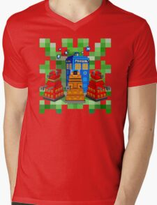 8bit Robot Droid Dalek with blue phone box Mens V-Neck T-Shirt