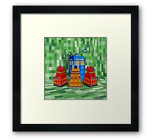 8bit Robot Droid Dalek with blue phone box Framed Print