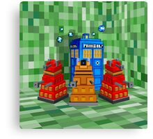 8bit Robot Droid Dalek with blue phone box Canvas Print