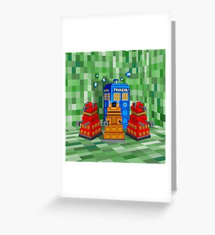 8bit Robot Droid Dalek with blue phone box Greeting Card