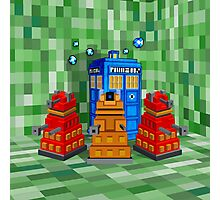 8bit Robot Droid Dalek with blue phone box Photographic Print