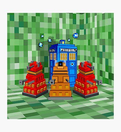 8bit Robot Droid Dalek with blue phone box Photographic Print