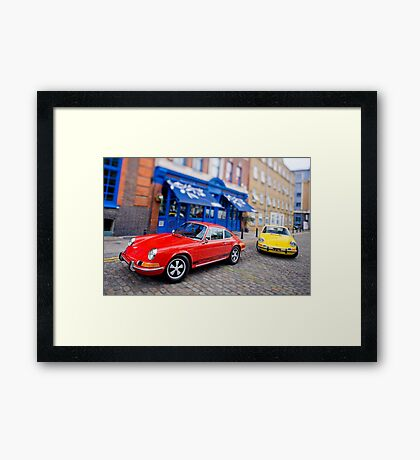 Two 911s in Town Framed Print