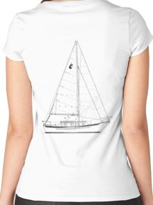 Dana 24 sail plan T shirt (printed on BACK) Women's Fitted Scoop T-Shirt