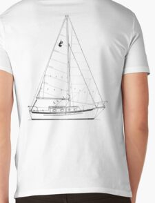 Dana 24 sail plan T shirt (printed on BACK) Mens V-Neck T-Shirt