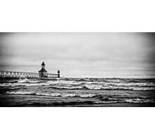 Tempest - Lake Michigan Lighthouse Photographic Print