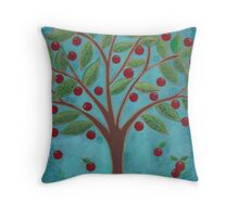 Juicy Red Fruit Tree Throw Pillow