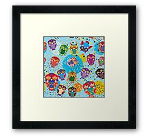 owls on blue background Framed Print