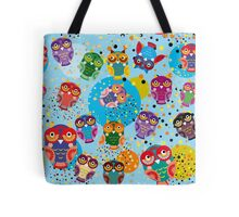 owls on blue background Tote Bag