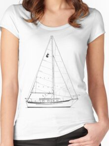 Dana 24 sail plan T shirt (Printed on FRONT) Women's Fitted Scoop T-Shirt