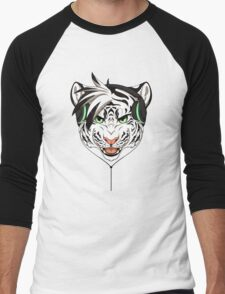 Headphone White Tiger Men's Baseball ¾ T-Shirt