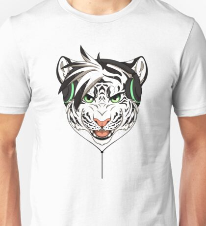 Headphone White Tiger Unisex T-Shirt