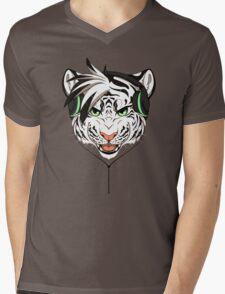 Headphone White Tiger Mens V-Neck T-Shirt