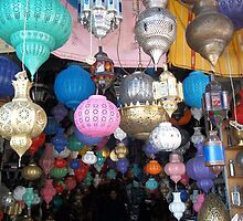 Beautiful Moroccan Lamps Hanging In The Marrakech Souk by Sarah Louise English