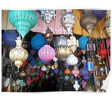 Beautiful Moroccan Lamps Hanging In The Marrakech Souk Poster