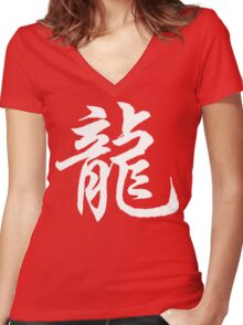 Chinese Zodiac Dragon Sign Women's Fitted V-Neck T-Shirt