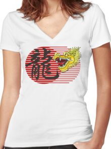 Chinese New Year Dragon Women's Fitted V-Neck T-Shirt